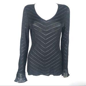 Ann Taylor Medium Sheer Sequin Bell Sleeve Sweater